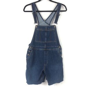 Free People dark wash denim jean bib overalls